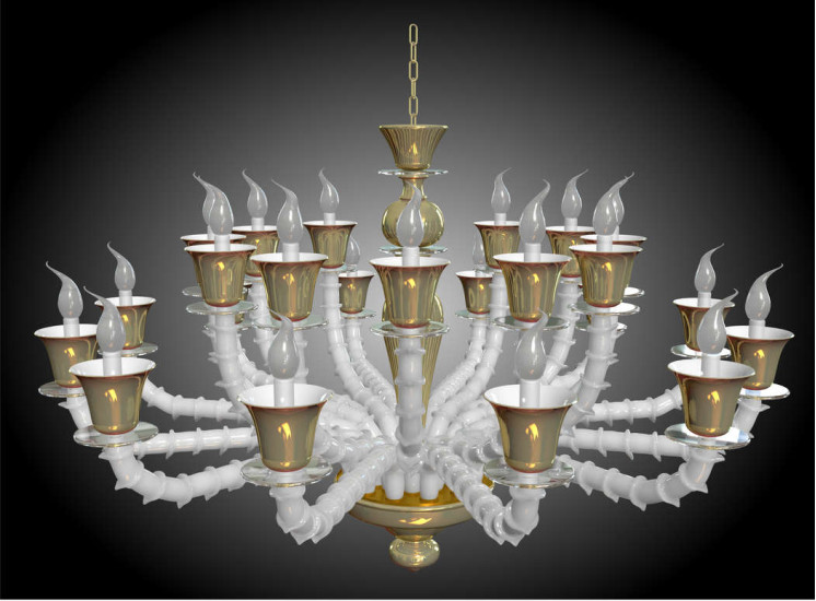 1932/CH24: Chandelier in Murano glass