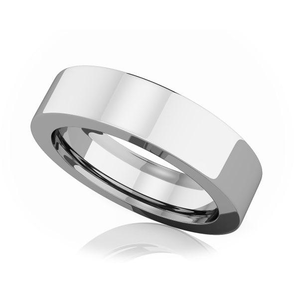 แหวนPlatinum - 5 mm Flat comfort fit classic band