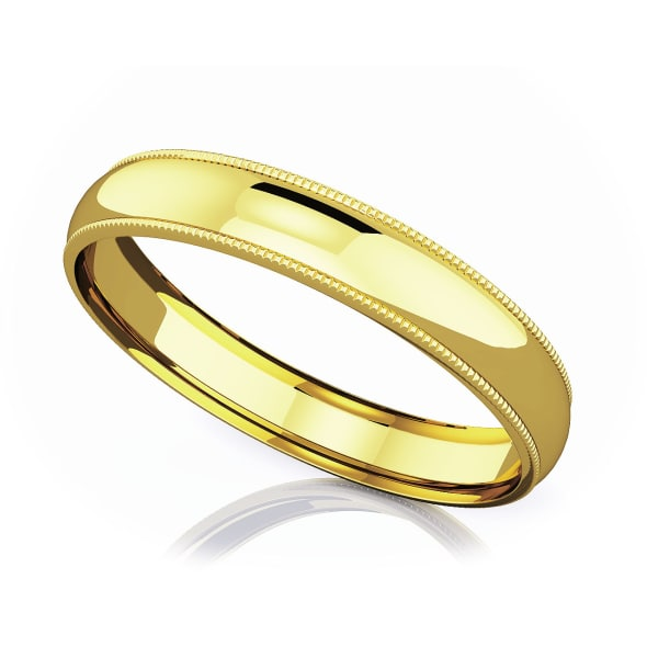 แหวนทอง - 18K 4 mm Milgrain domed romantic classic band