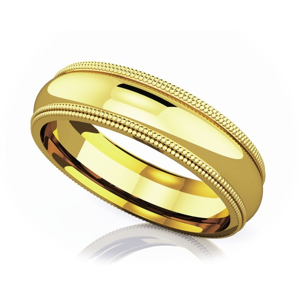 แหวนทอง - 18K 5 mm Double milgrain domed romantic classic band