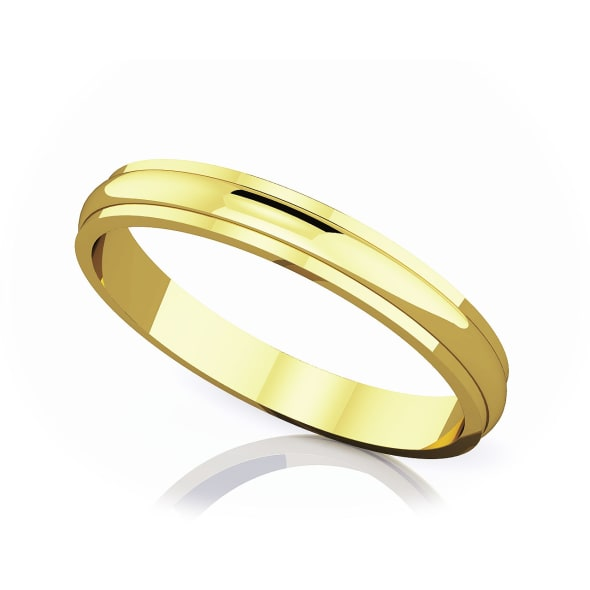 แหวนทอง - 18K 3 mm Half rounded edge romantic classic band