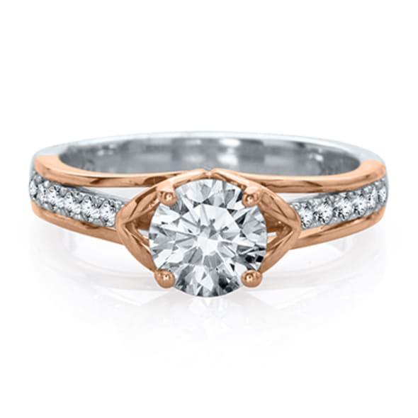แหวนทอง 18K ประดับเพชร น้ำหนักรวม 0.50 กะรัต ค่าสี E ค่าความสะอาด VS2