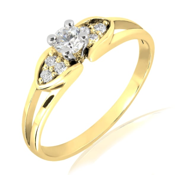 18K Gold and 0.20 Carat F Color VS Clarity Diamond Ring