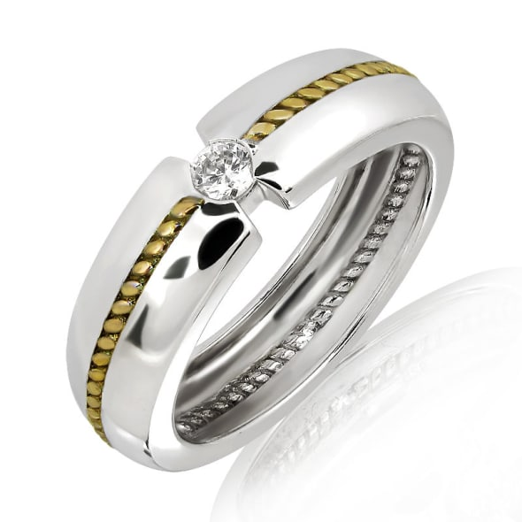 18K Gold and 0.10 Carat F Color VS Clarity Lady's Diamond Band