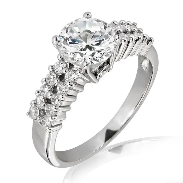 แหวนทอง 18K ประดับเพชร น้ำหนักรวม 1.00 กะรัต ค่าสี F ค่าความสะอาด VS2 EX/EX/EX เพชรมาพร้อมใบรับรองจากสถาบัน IGL