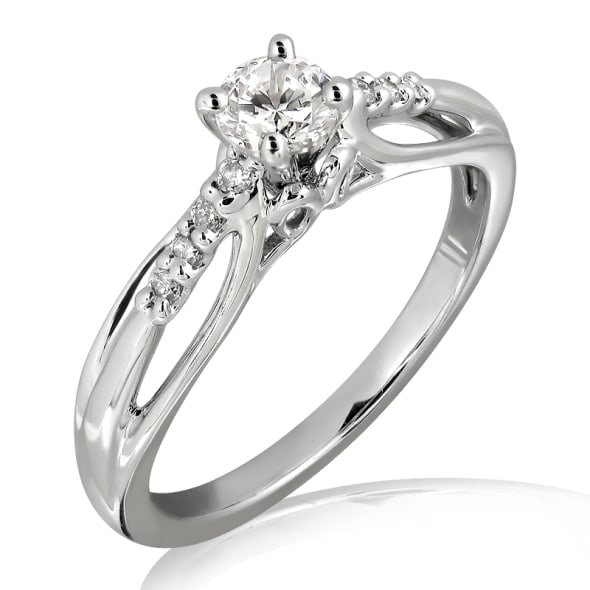 18K Gold and 0.25 Carat E (Nam 99) Color VS2 Clarity Diamond Ring