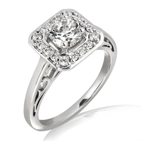 แหวนทอง 18K ประดับเพชร น้ำหนักรวม 0.43 กะรัต ค่าสี F  ค่าความสะอาด VS2 เพชรมาพร้อมใบรับรองจากสถาบัน GIA