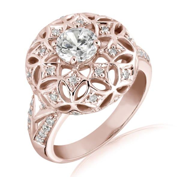 แหวนทอง 18K Rose Gold ประดับเพชร น้ำหนักรวม 0.80 กะรัต ค่าสี F ค่าความสะอาด VS2 เพชรมาพร้อมใบรับรองจากสถาบัน GIA