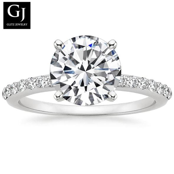 แหวนทอง 18K ประดับเพชร น้ำหนักรวม 1.00 กะรัต ค่าสี D ค่าความสะอาด VS2 EX/EX/EX None  เพชรมาพร้อมใบรับรองจาก GIA