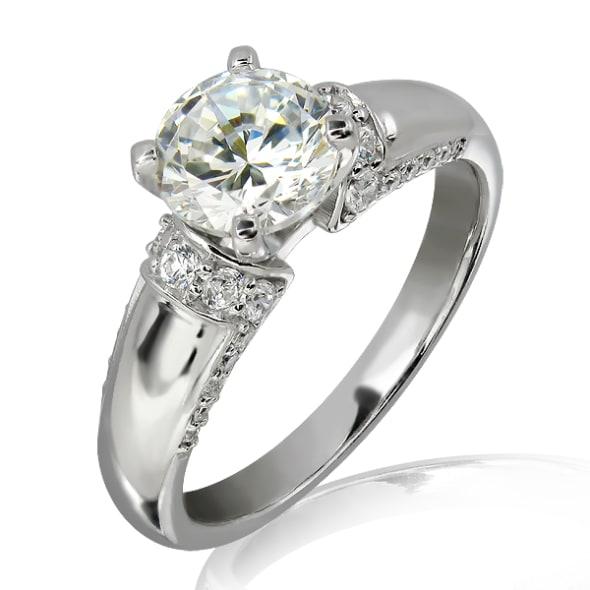แหวนทอง 18K ประดับเพชร น้ำหนักรวม 0.75 กะรัต ค่าสี F ค่าความสะอาด VS2 เพชรมาพร้อมใบรับรองจาก IGL