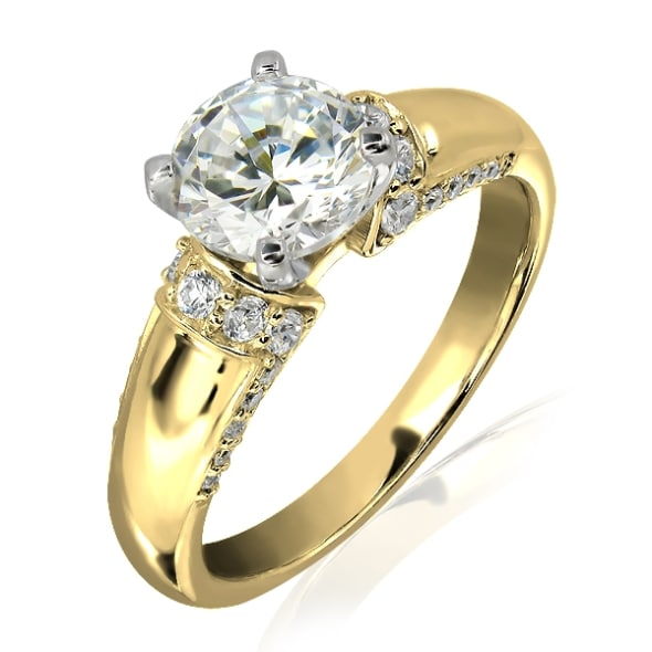 18K Gold and 0.65 Carat E Color VS2 Clarity Diamond Ring