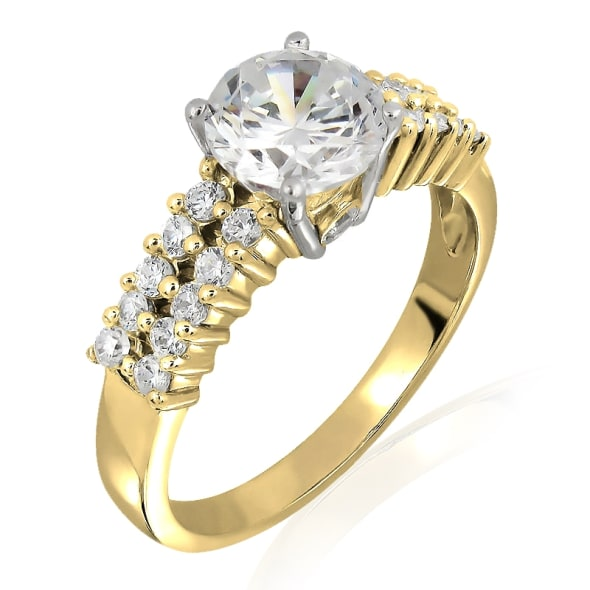 18K Gold and 0.80 Carat F Color VS2 Clarity EX/EX/EX GIA Certified Diamond Ring.