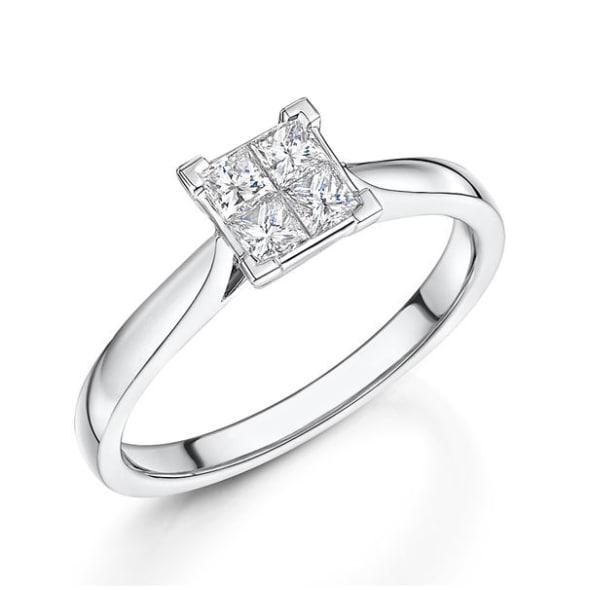 แหวนทอง 18K ประดับเพชร น้ำหนักรวม 0.41 กะรัต ค่าสี G ค่าความสะอาด VS