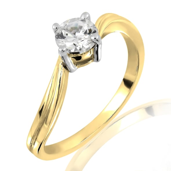 18K Gold and 0.25 Carat H Color VVS2 Clarity Diamond Ring
