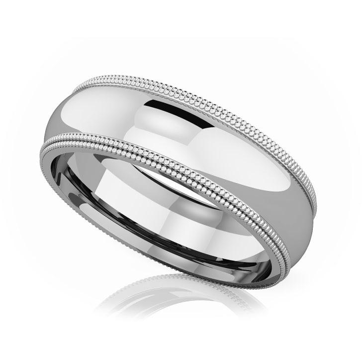แหวนPlatinum - 6 mm Double milgrain domed romantic classic band