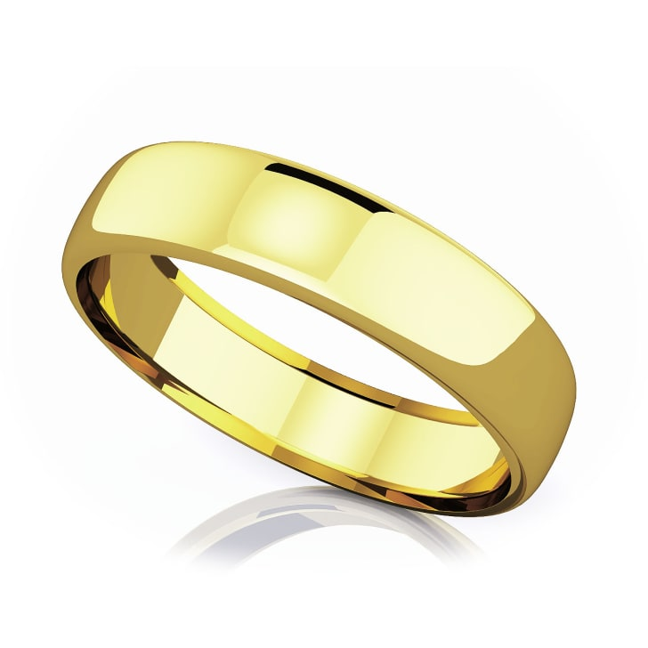 แหวนทอง - 18K 5.50 mm Domed shape romantic classic band