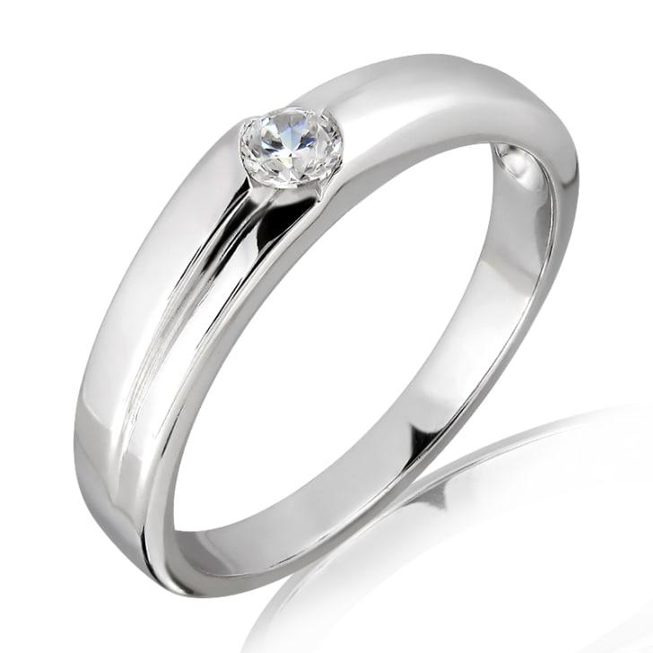 แหวนเพชรหมั้นชาย ทอง 18K ประดับเพชร 0.15 กะรัต ค่าสี E ค่าความสะอาด VS