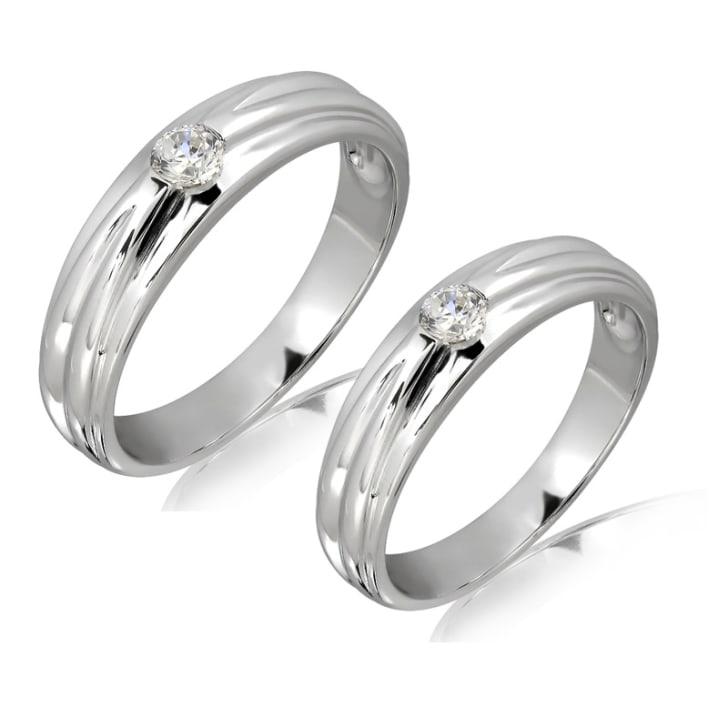 แหวนทองคู่รัก 18K ประดับเพชร น้ำหนักรวม 0.35 กะรัต ค่าสี E ค่าความสะอาด VVS