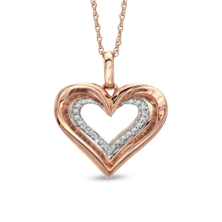 จี้ทองรูปหัวใจ 18K ประดับเพชร น้ำหนักรวม 0.10 กะรัต ค่าสี F ค่าความสะอาด VS จี้มาพร้อมสร้อยคอความยาว 16 นิ้ว