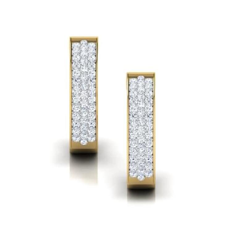 ต่างหูทอง 18K ประดับเพชร น้ำหนักรวม 0.50 กะรัต