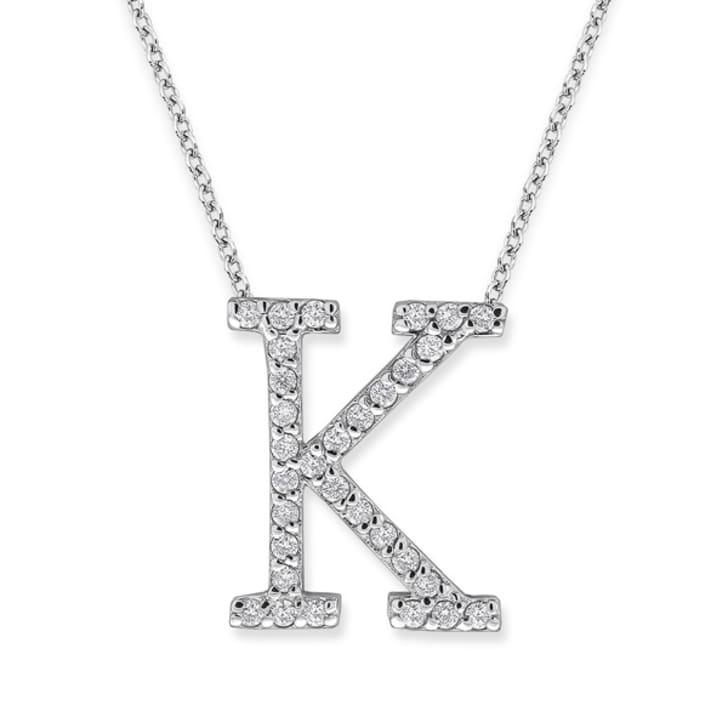 จี้ทอง 18K ประดับเพชร น้ำหนักรวม 0.31 กะรัต ค่าสี F ค่าความสะอาด VS จี้อักษร K มาพร้อมสร้อยคอ 16 นิ้ว