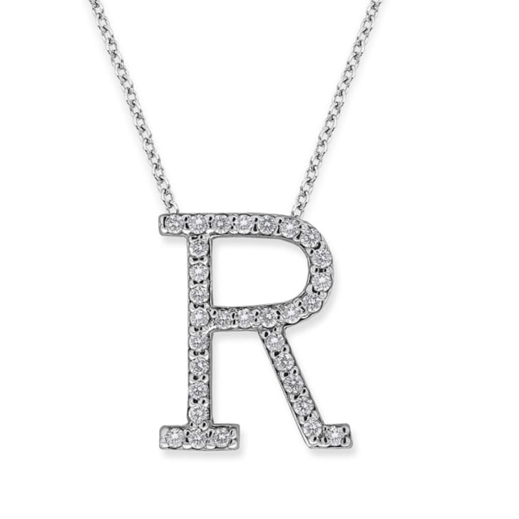 "18K Gold and 0.31 Carat F Color VS Clarity Initial ""R"" Pendant with 16 Inches Chain"