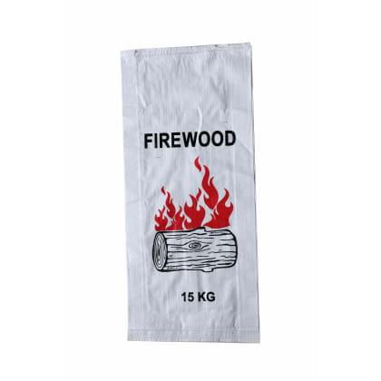 Woven Polypropylene - 100 Printed Firewood Bags - (37 CM +10 CM) X 80 CM