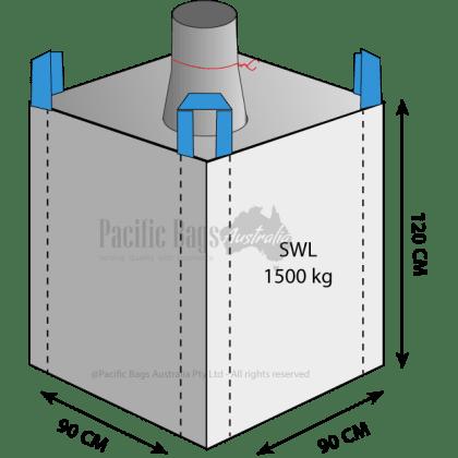 1.5 Tonne - Spout Top Closed Bottom - Bulk Bag - 90 x 90 x 120 CM