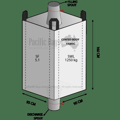 1.25 Tonne - Spout Top Spout Bottom - Coated Bulk Bag