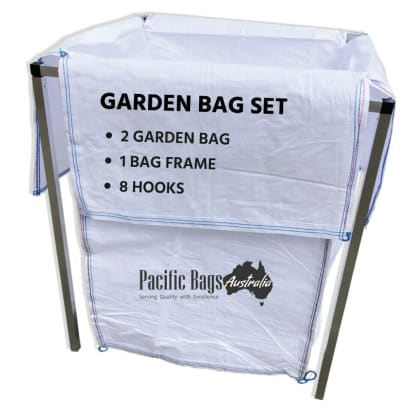 Garden Bag Full Set - 1 Aluminium Frame + 2 Garden Bag + 8 Hooks
