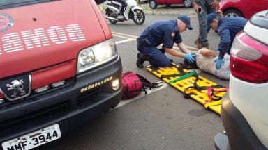 Motociclista fica ferida em acidente no centro de Herval