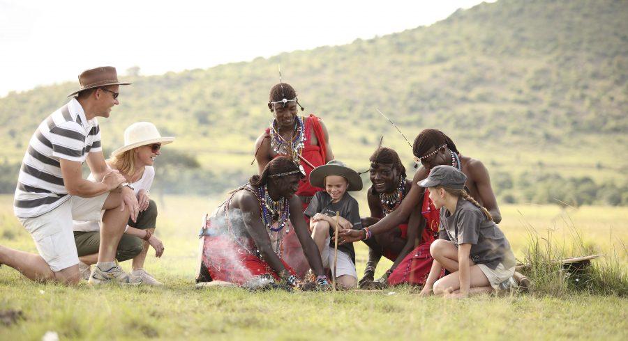 Children on an African safari in the Masai