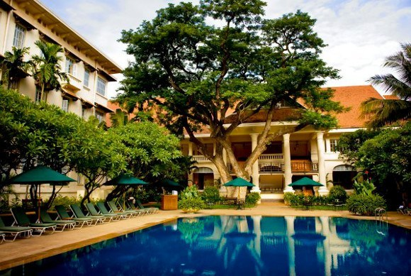 Cambodia's French Colonial Architecture - Hotel Le Royal, Pool