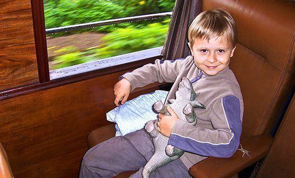Junge mit Plüschtier sitzt im Zugabteil am Fenster und blickt lächelnd hinauf in die Kamera