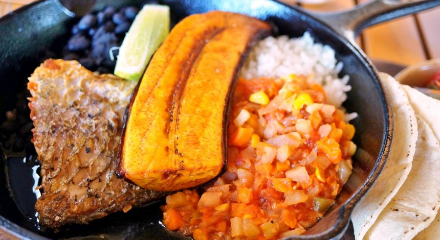 Traditional Costa Rican Casado meal with rice, beans and plantains.