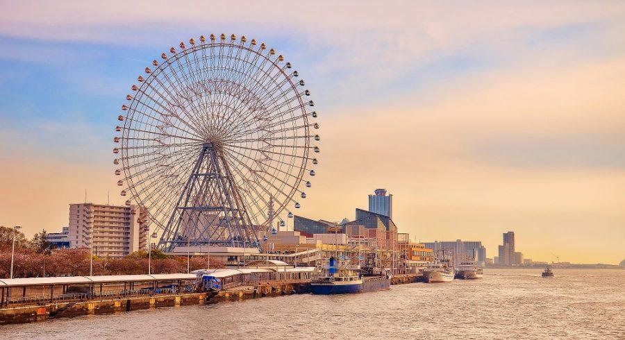 Osaka bay at sunset