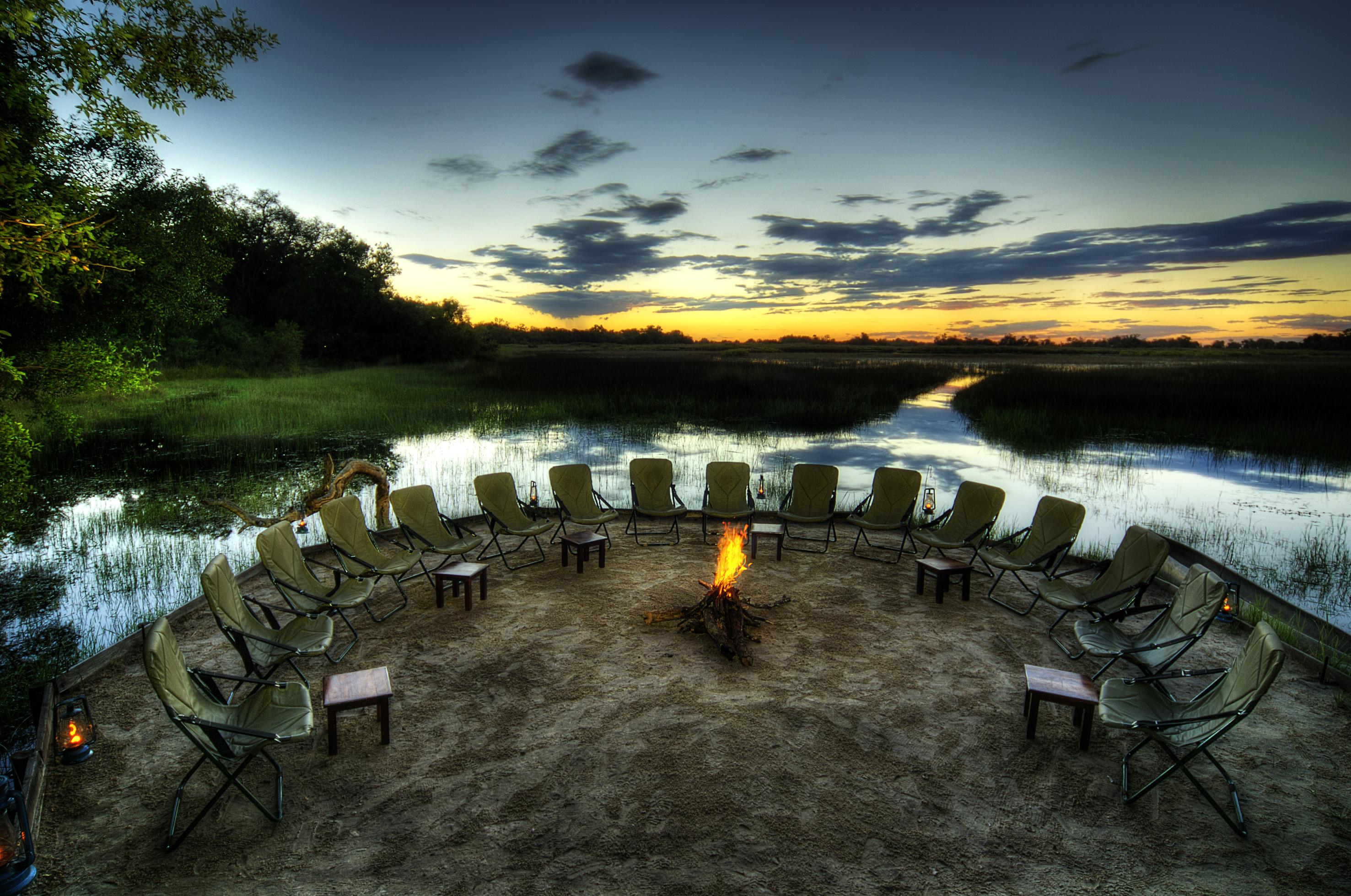 Camp fire at Kanana Camp - Okavango Delta, Bostwana