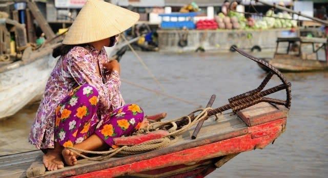 Frau im Mekong Delta