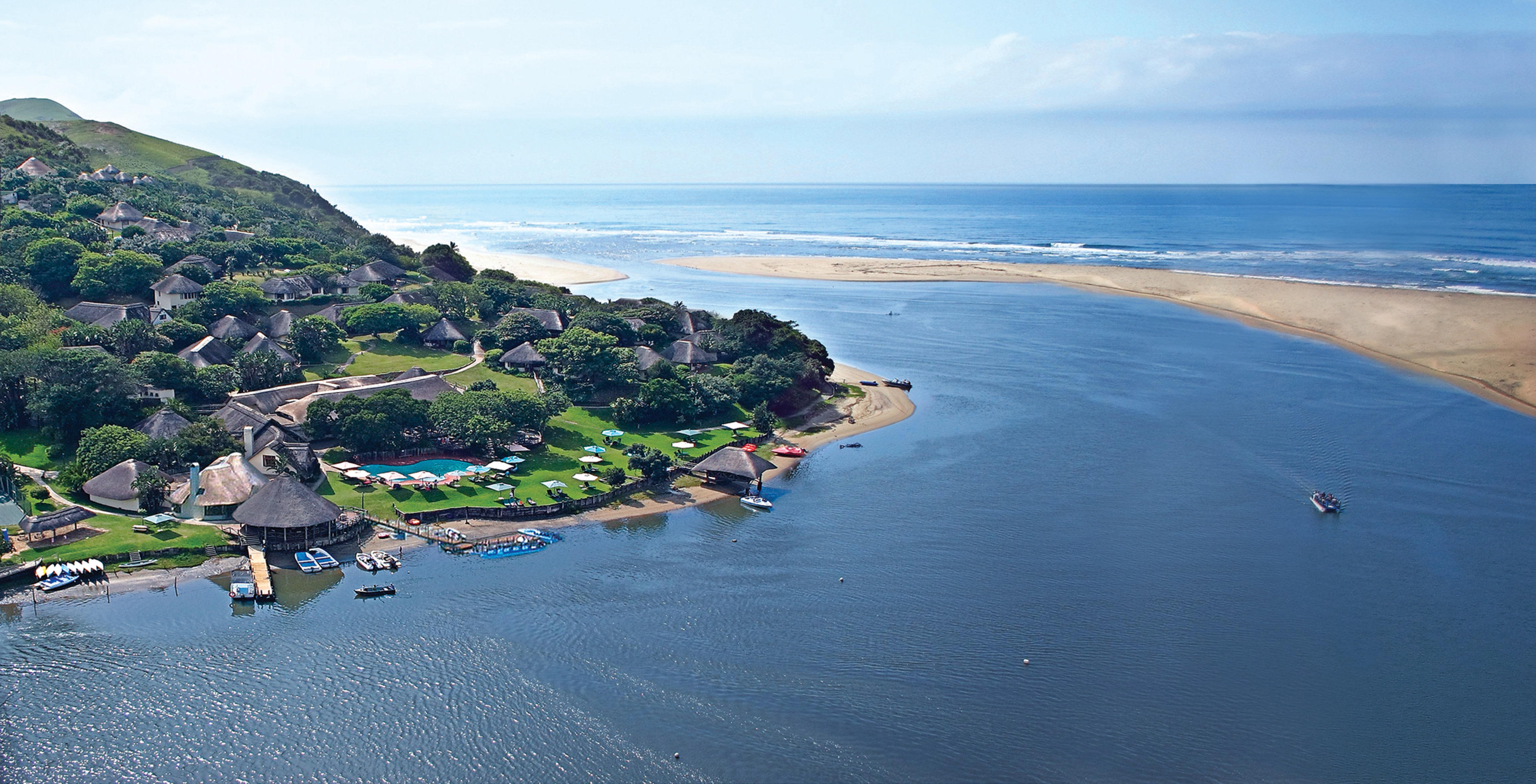 Aerial view of the Umngazi River Bungalows - Eastern Wild Coast, South Africa