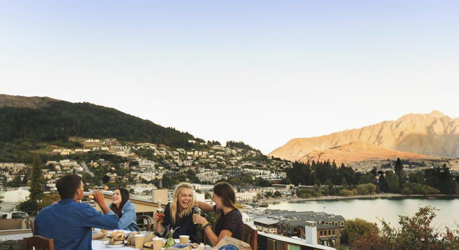 People enjoying Food and Wine in Queenstown, New Zealand