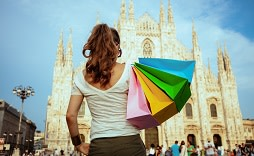 Enchanting Travels Italy Tours colorful shopping bags in Milan, Italy