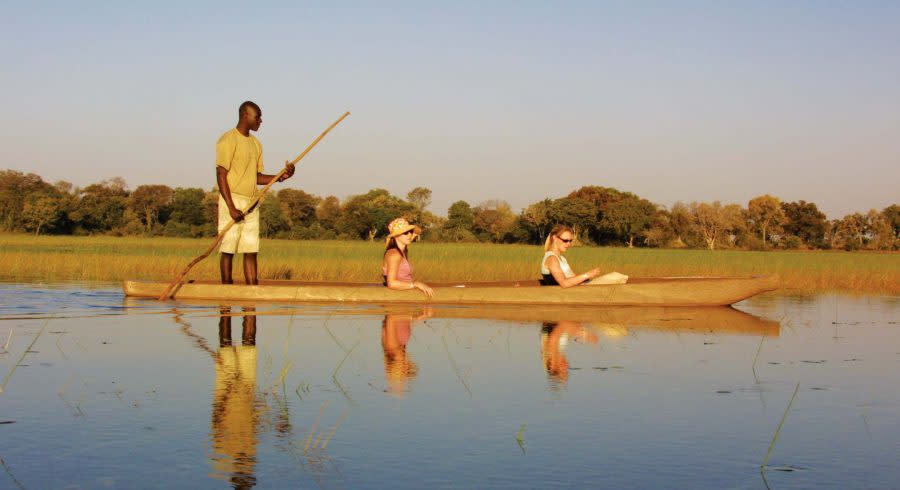 Ride with Mokoro in the Okavango Delta