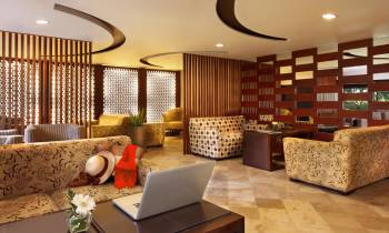 this is a photo of the arrival and departure lounge at the Melia Bali Indonesia