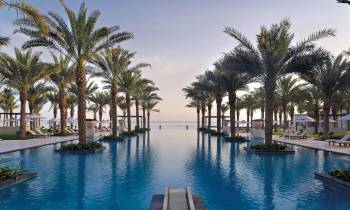 a pool next to a body of water surrounded by palm trees