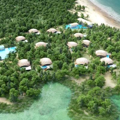 Aerial view of Chena Huts by Uga Escapes