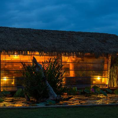 Exterior night view, Chena Huts