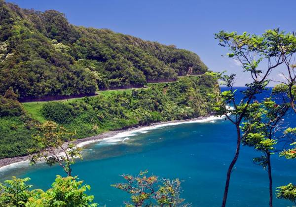 a body of water surrounded by trees with Hana Highway in the background