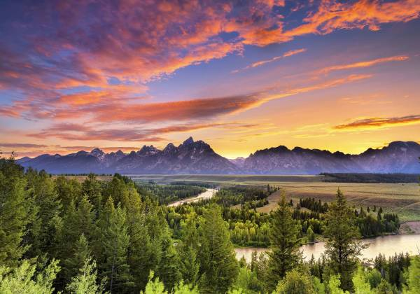 Grand Teton Mountain Range at Sunset