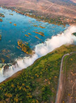 An aerial view of the stunning Victoria Falls