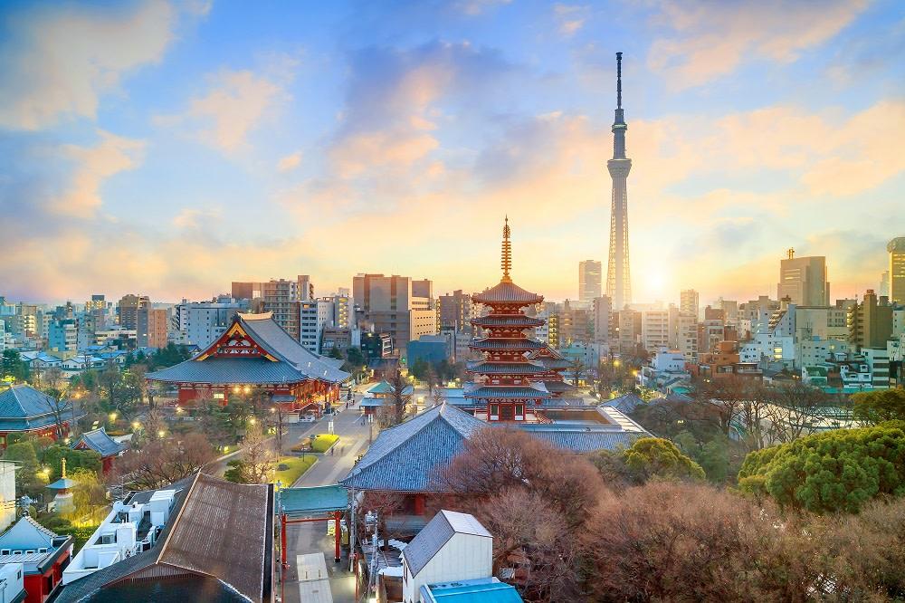 Sensoji Temple against the Tokyo skyline
